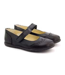 Boni Betty - Black Leather School Shoes for Girls