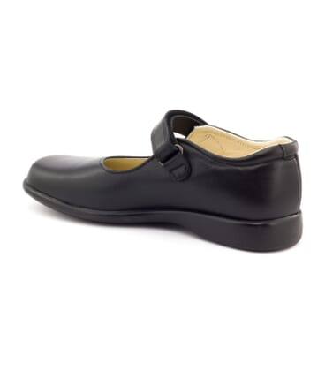 Boni College - Black Leather School Shoes for Girls -