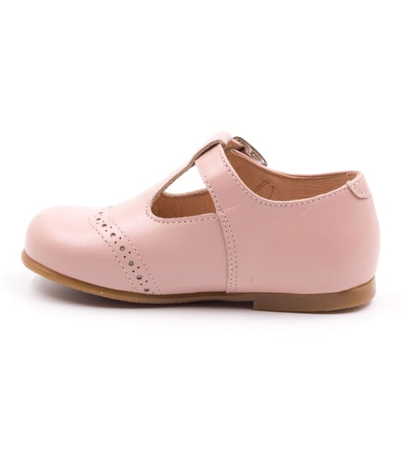 Boni César - Leather Buckle First Walking Shoes - pink