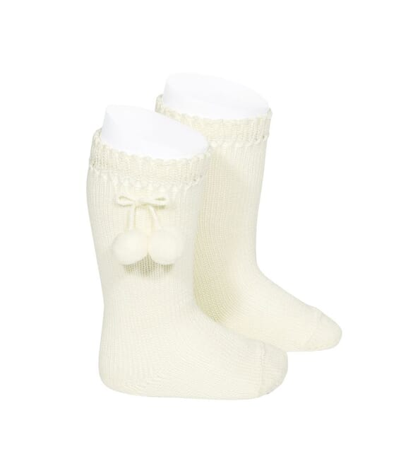 CONDOR - Knee high socks with pompoms